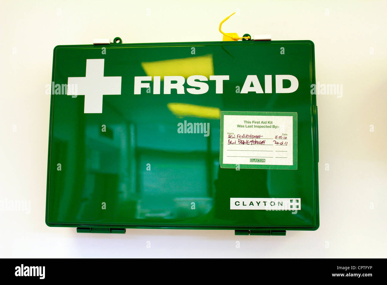 First aid kit inside a laboratory - Stock Image