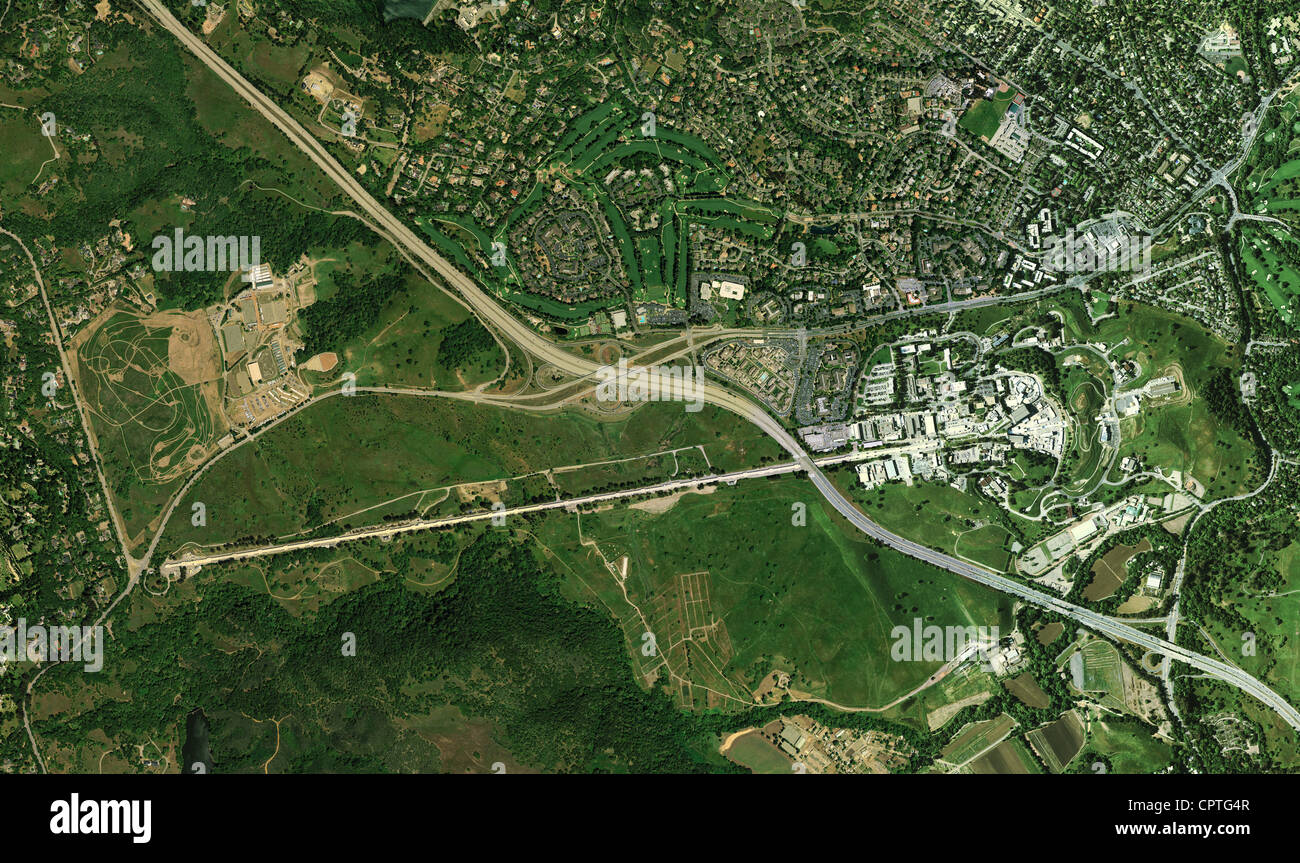 aerial photograph Sand Hill Road, Interstate 280, Stanford Linear Accelerator, Menlo Park, California - Stock Image