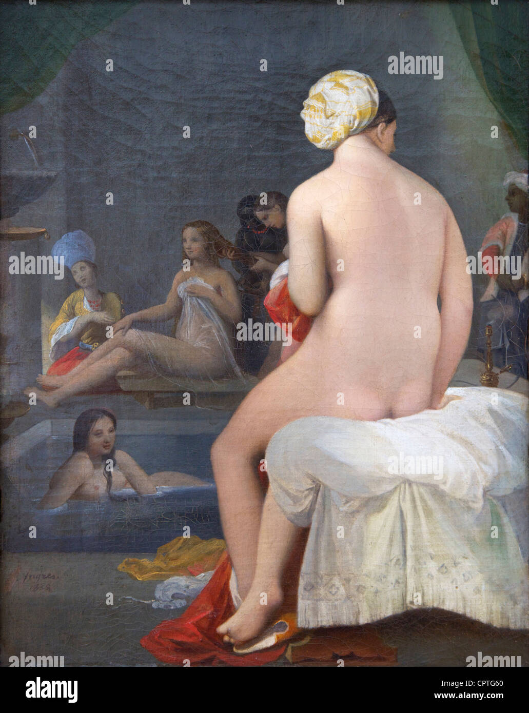 The little bather, interior of harem, by Jean-Auguste-Dominique Ingres, 1828, Musee du Louvre Museum, Paris, France, - Stock Image