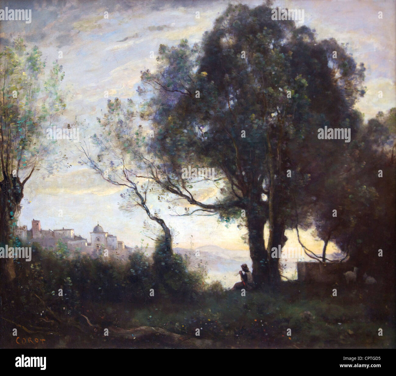 Recollection of Castelgandolfo, by Camille Corot, 1866, Musee du Louvre Museum, Paris, France, Europe, EU - Stock Image