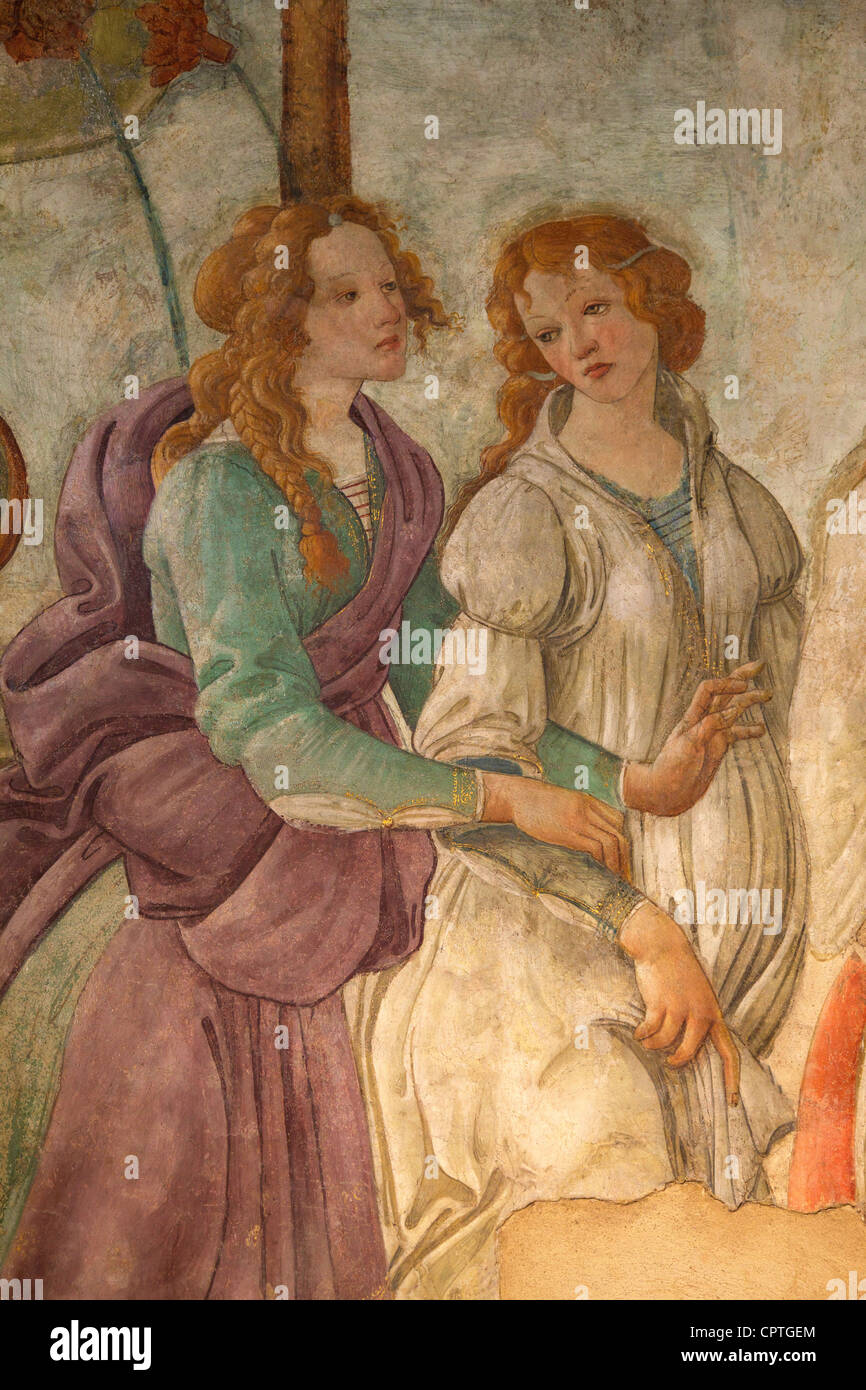 Detail of Venus and Three Graces offering gifts to a young lady, by Sandro Botticelli, 1483-1485, Musee du Louvre Stock Photo