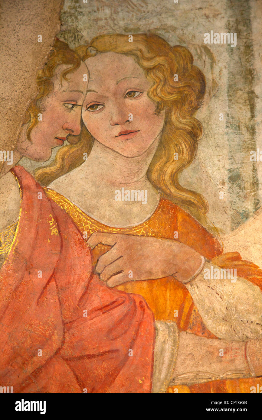 Detail of Venus and the Three Graces offering presents to a young girl, by Botticelli, 1483-1485, Musee du Louvre Stock Photo