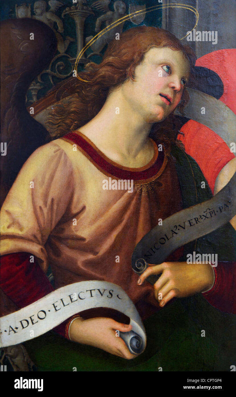 Angel holding a banner, by Raphael, 1501, Musee du Louvre Museum, Paris, France, Europe, EU - Stock Image