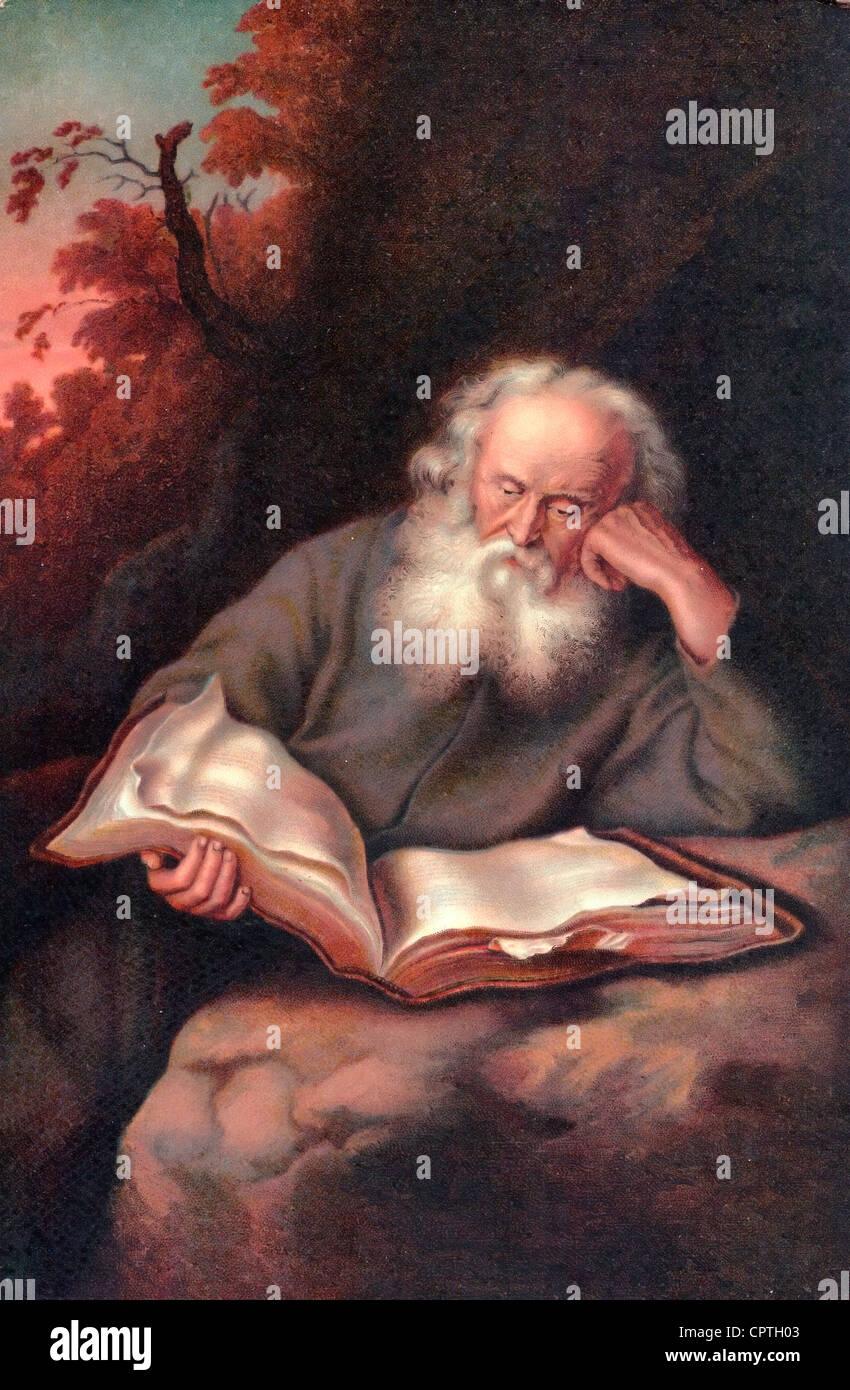 Der Eremit - The Hermit - painting by Salomon Koninck, 1643 - Stock Image