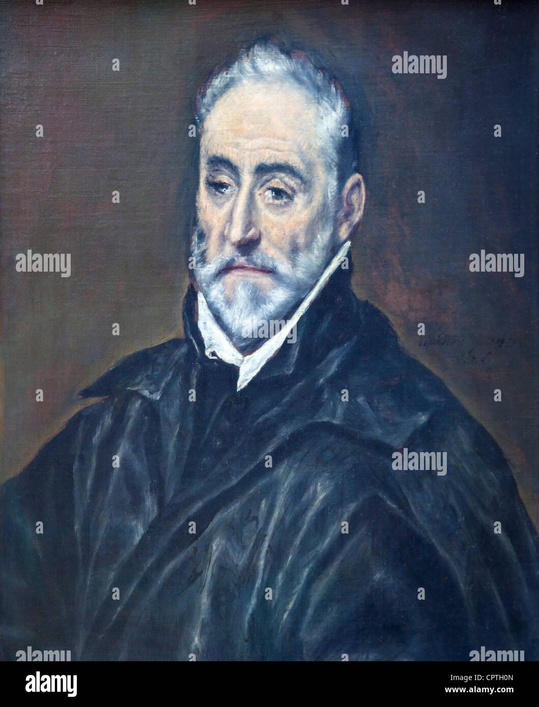 Antonio de Covarrubias y Leiva, by El Greco, Musee du Louvre Museum, Paris, France, Europe, EU - Stock Image