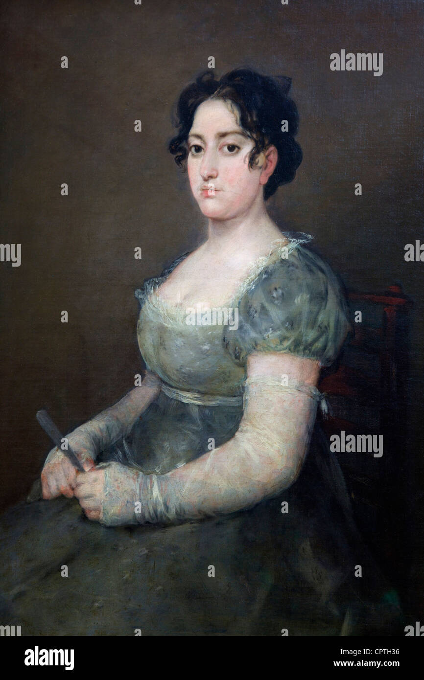 Woman with a fan, by Francisco de Goya y Lucientes, 1807, Musee du Louvre Museum, Paris, France, Europe, EU - Stock Image