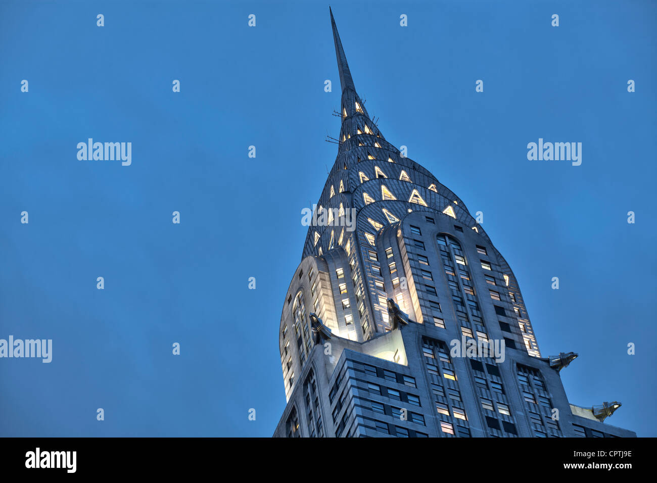Chrysler Building at dusk at 42nd St and Lexington Avenue, New York City. - Stock Image