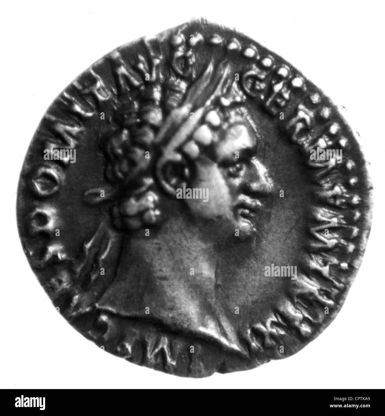 Domitian (Titus Flavius Domitianus), 24.10.51 - 18.9.96, Roman Emperor 14.9.81 - 18.9.96, portrait, coin from the - Stock Image