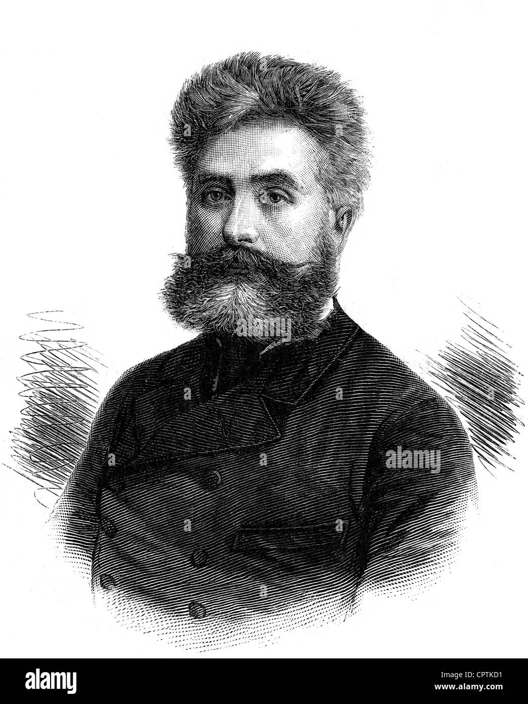 Nordau, Max, 29.7.1849 - 23.1.1923, Hungarian author / writer, medical doctor, portrait, wood engraving, 19th century, Stock Photo