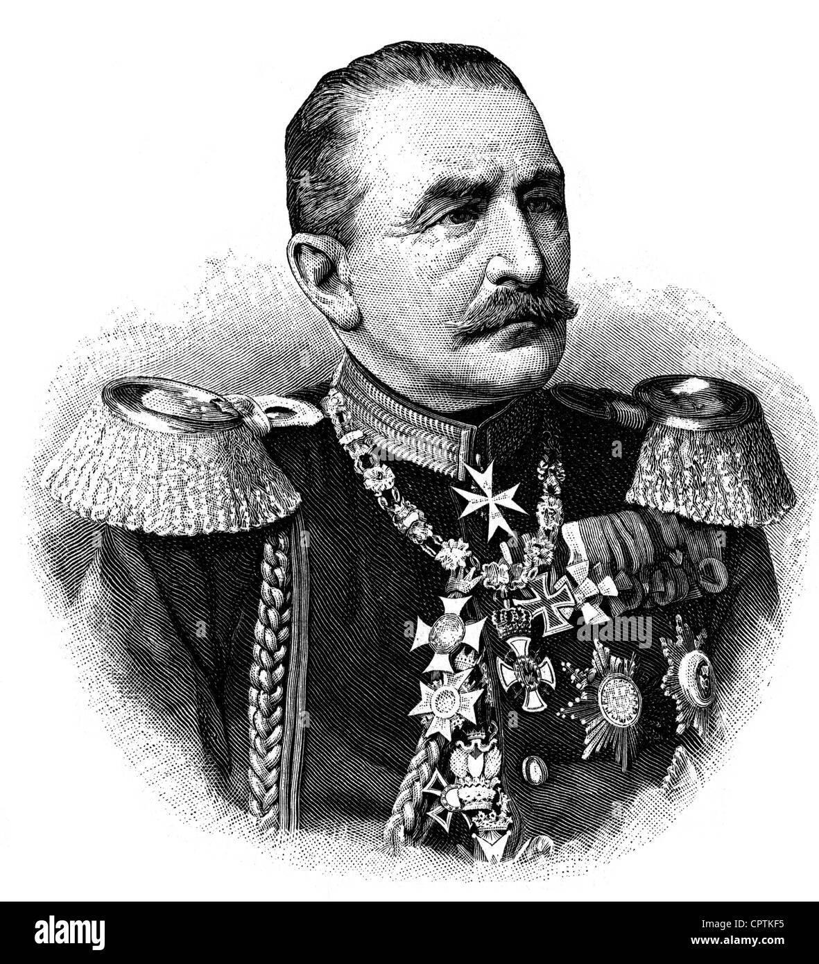 Obernitz, Hugh von, 16.4.1819 - 18.9.1901, German general of the infantry (Grand duchy of Baden), portrait, wood - Stock Image