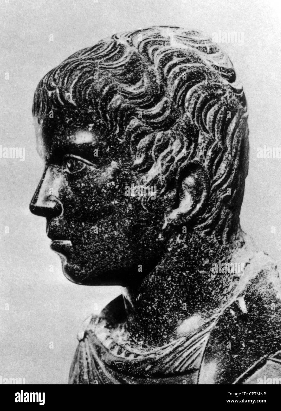 Constantine II (Flavius Claudius Constantinus), 317 - 340, Roman Emperor 337 - 340, portrait, porphyr bust, circa - Stock Image