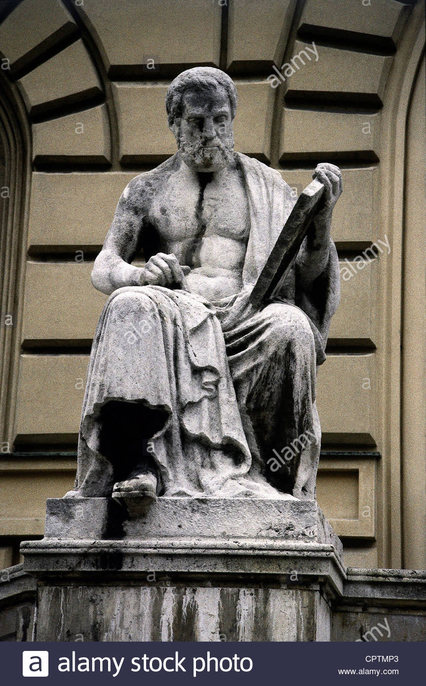 Thucydides, circa 460 - circa 397 BC, Greek historian, half length, stone sculpture in front of the Bavarian State - Stock Image