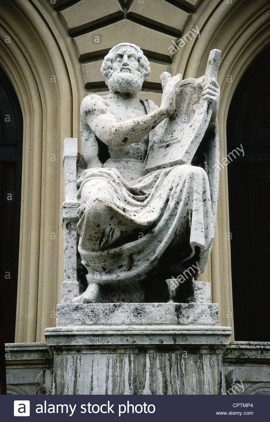 Homer, circa 800 BC, greek author / writer (poet) and historian, half length, stone sculpture in front of the Bavarian - Stock Image