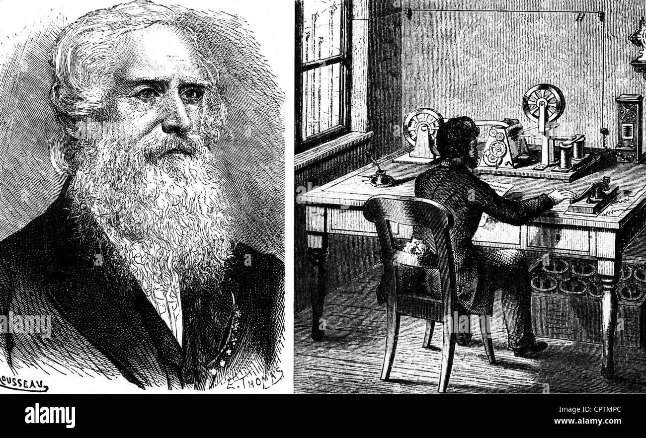 Morse, Samuel, 27.4.1791 - 2.4.1872, American inventor, double image, left: portrait, right: telegraphs office, - Stock Image