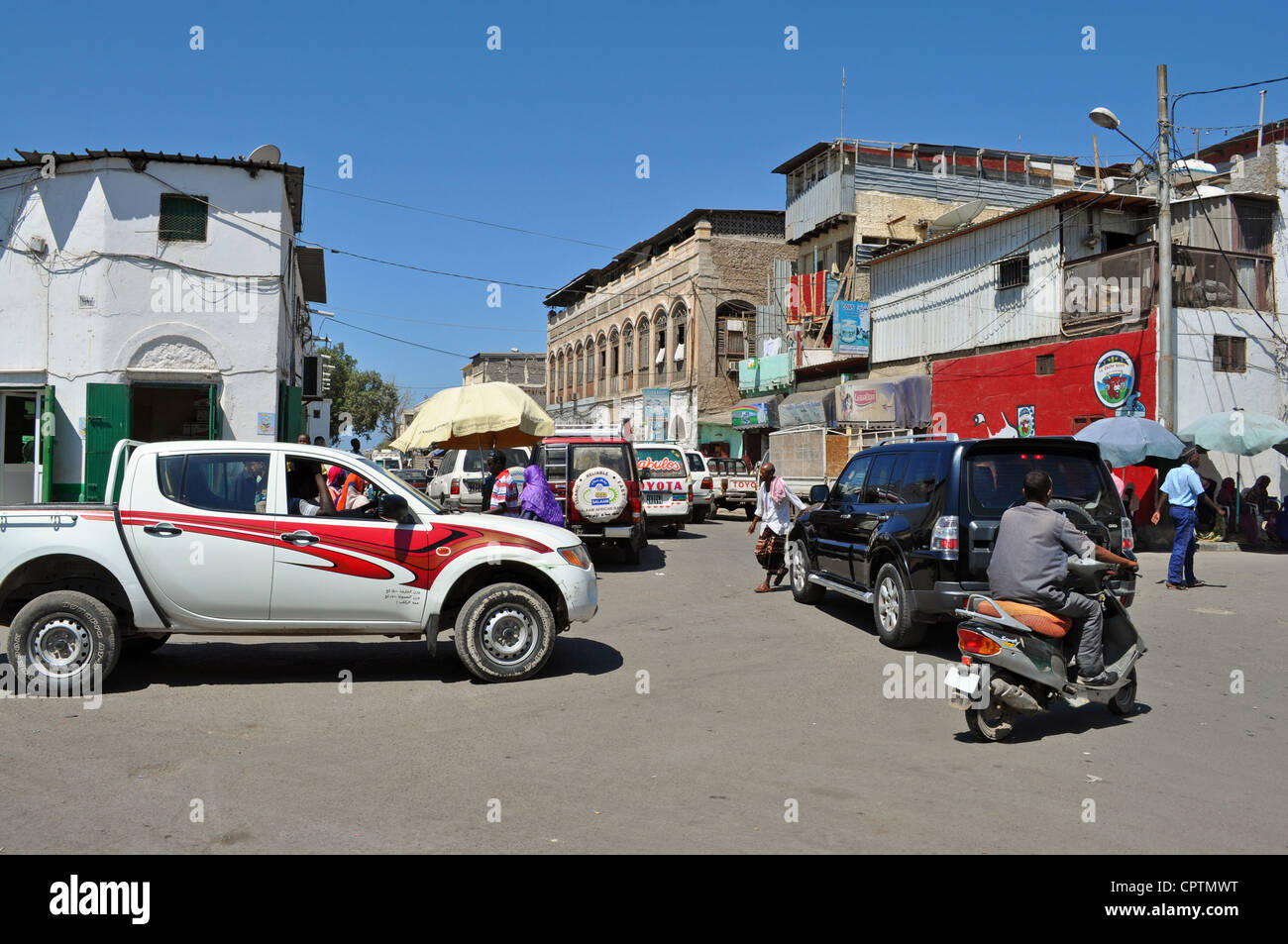 Street scene in Djibouti City - Stock Image