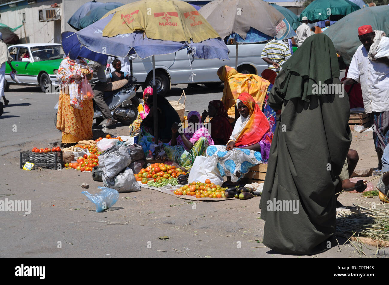 Marketplace in the centre of Djibouti City - Stock Image