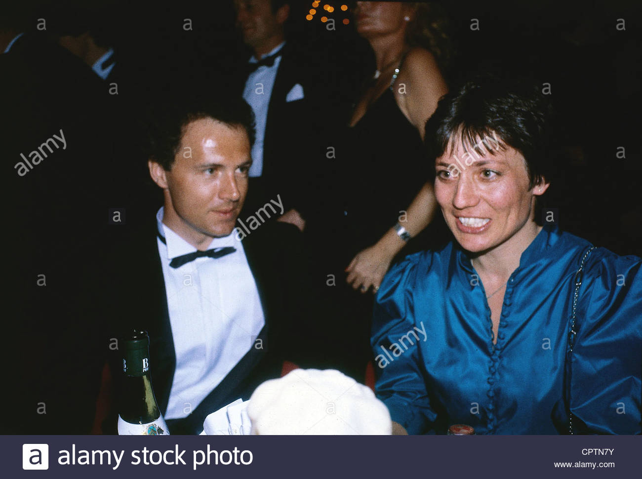 Beckenbauer, Franz * 11.9.1945, German football player, half length, with Rosi Mittermeier, 1980s, soccer, - Stock Image