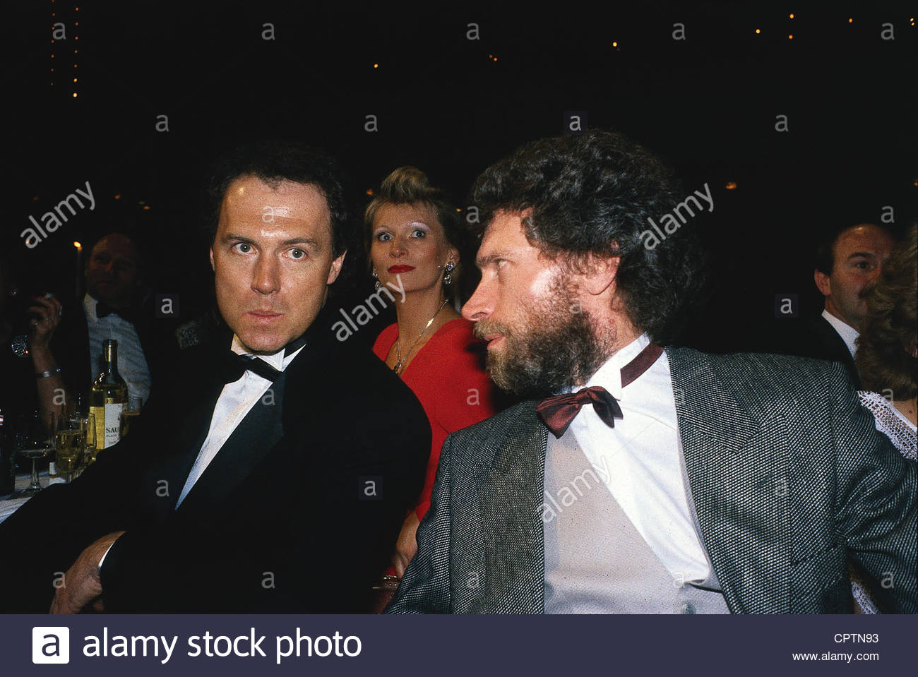 Beckenbauer, Franz, * 11.9.1945, German football player, half length, with Paul Breitner, 1980s, soccer, - Stock Image