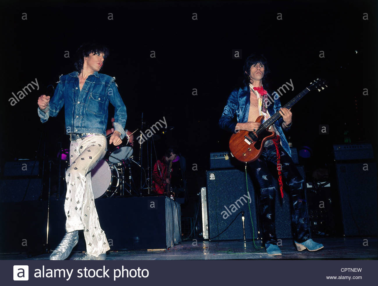 Rolling Stones, British rock group, Mick Jagger and Keith Richards during a concert, 1970s, jeans jacket, musicians, - Stock Image