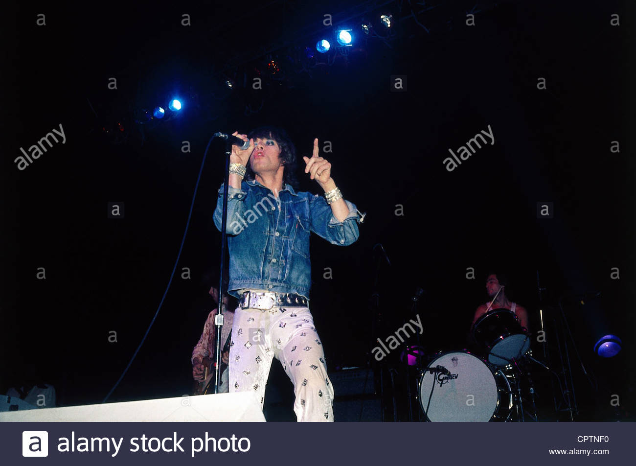 Rolling Stones, British rock group, Mick Jagger and Charlie Watts during a concert, 1970s, jeans jacket, musicians, - Stock Image