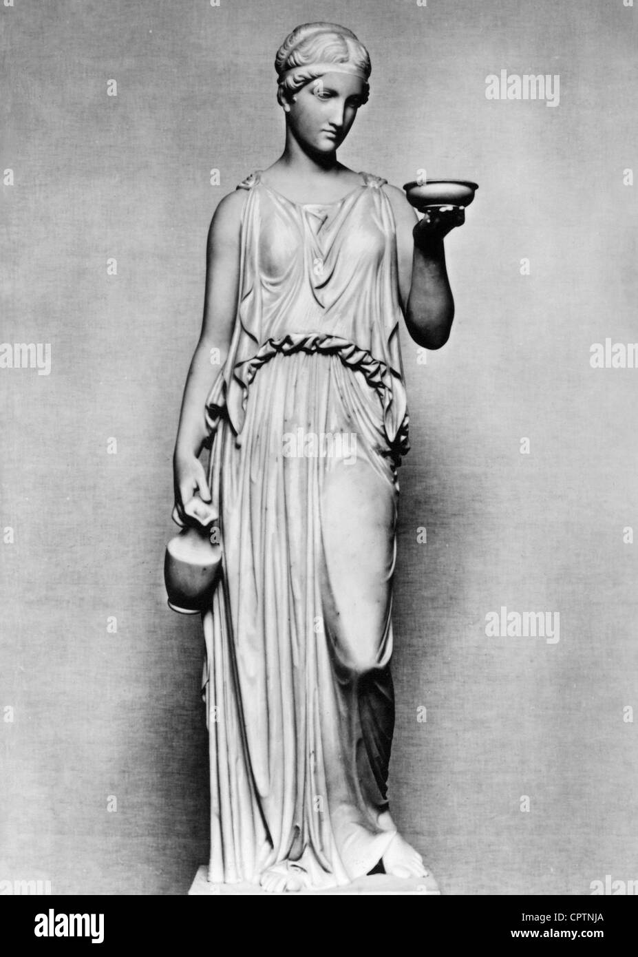 Hebe (Latin: Iuventas), Greek goddess of youth, sculpture by Bertel Thorvaldsen (1768 - 1844), 1816, Copenhagen, - Stock Image