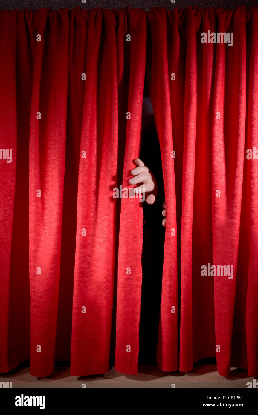 Red curtains on stage - Stock Image