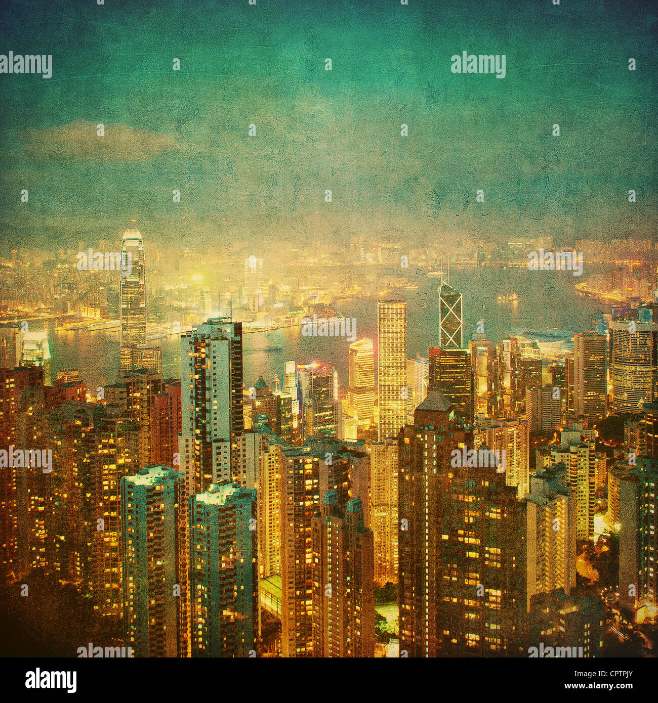 vintage image of hong kong - Stock Image