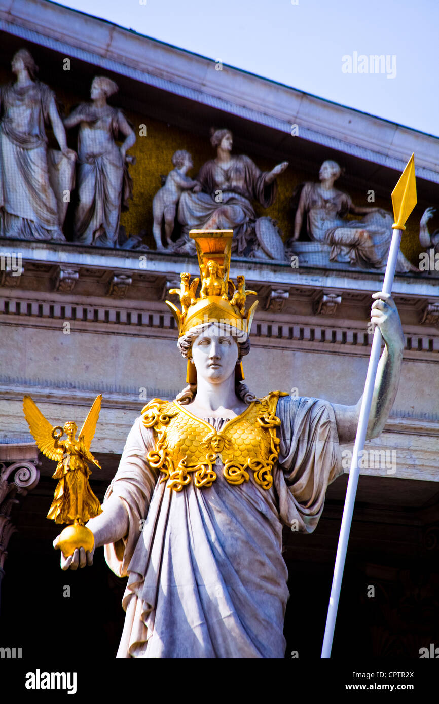 Pallas Athene holding Nike the Goddess of Victory at the Parliament, Vienna, Austria - Stock Image