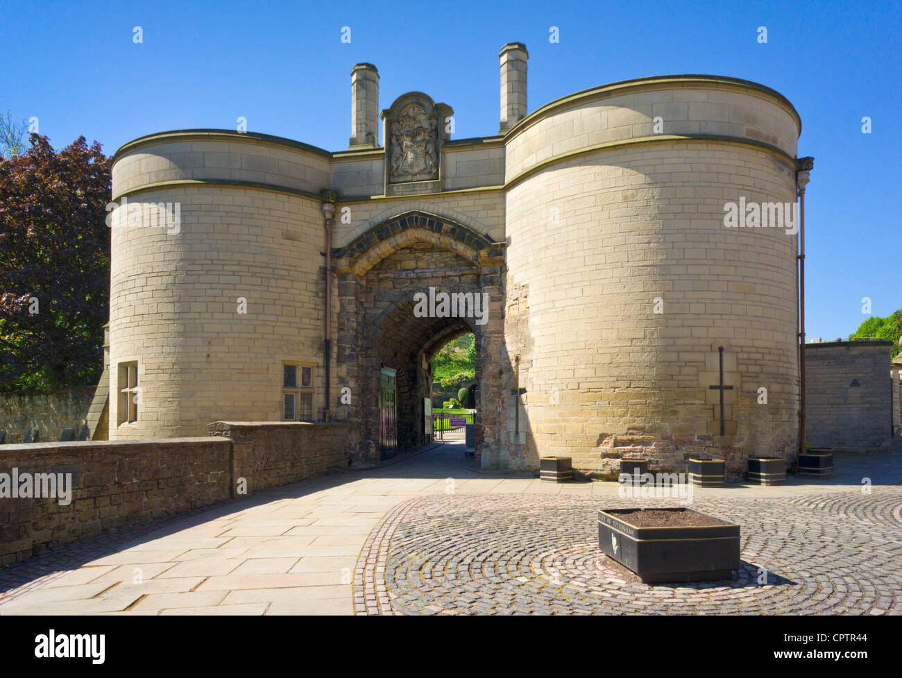 Nottingham castle exterior gate house Nottinghamshire east midlands England UK GB EU Europe - Stock Image