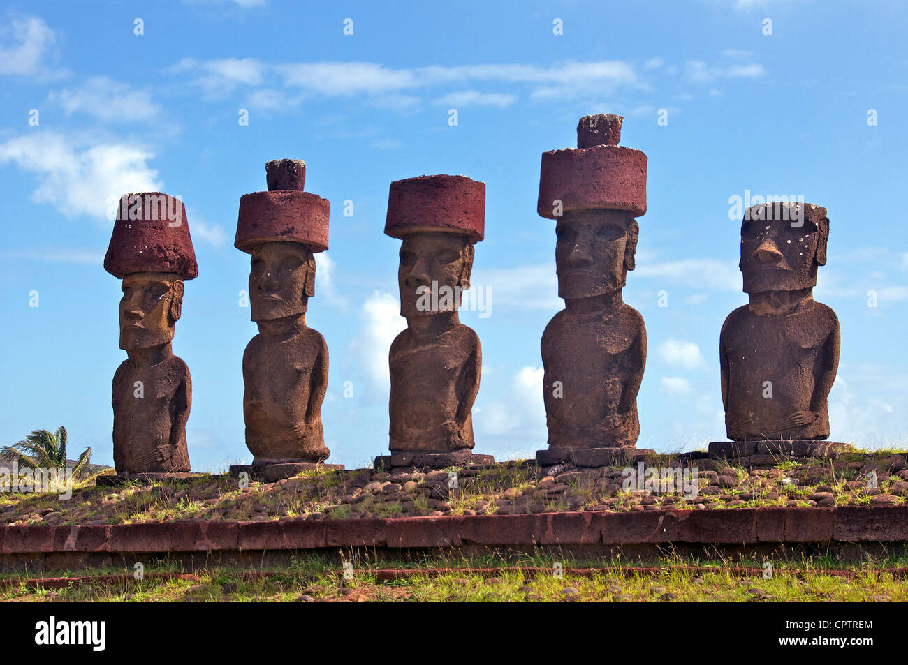 Ahu Nau Nau Anakena Easter Island Chile - Stock Image