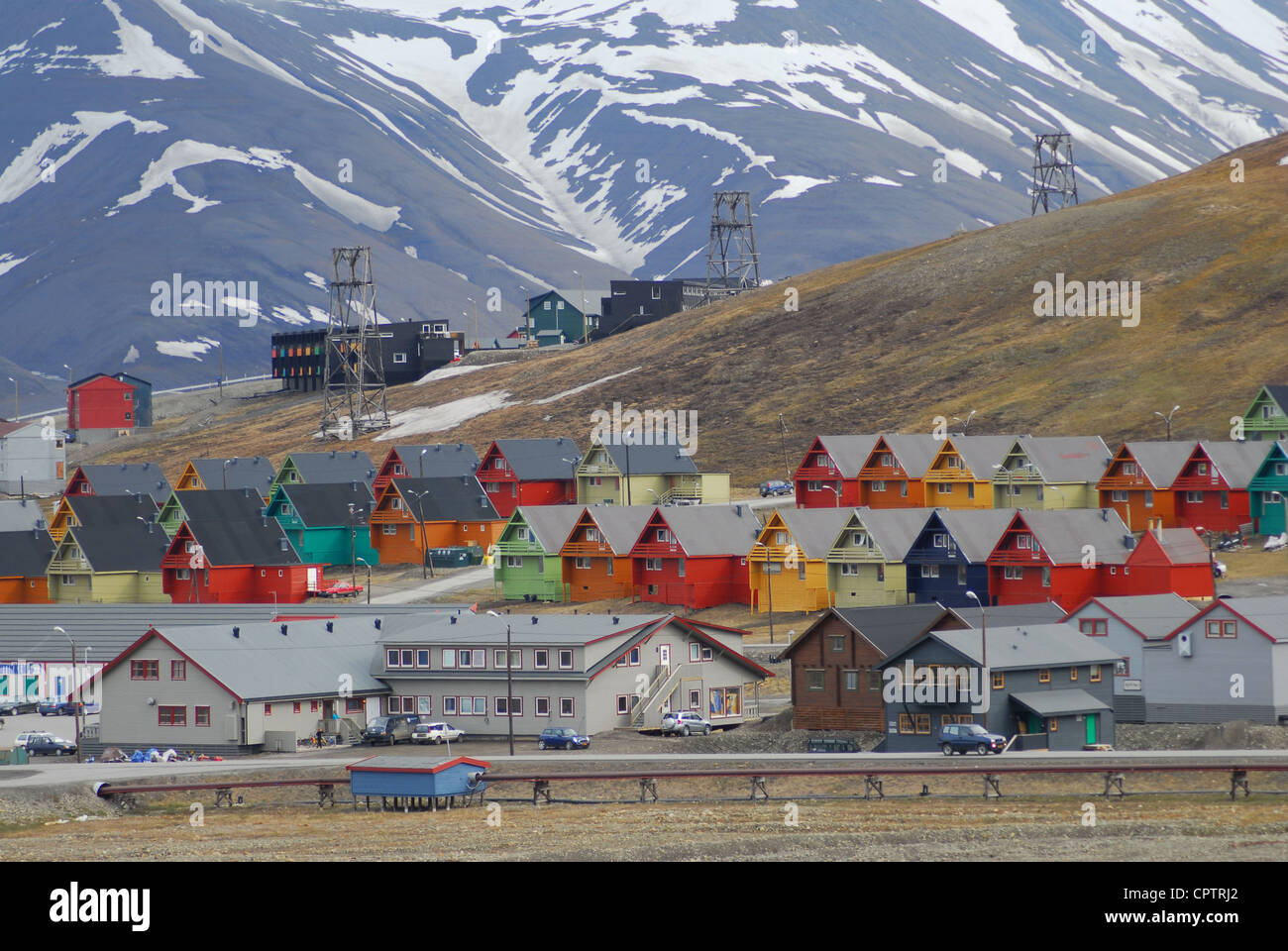 Rows of multicoloured homes in the town of Longyearbyen, Svalbard, Norway. - Stock Image