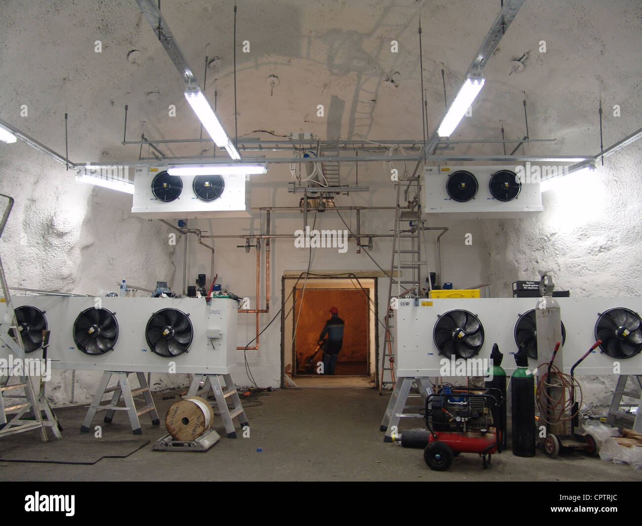 Cooling systems in one of the storage chambers at the Svalbard Global Seed Vault - Stock Image