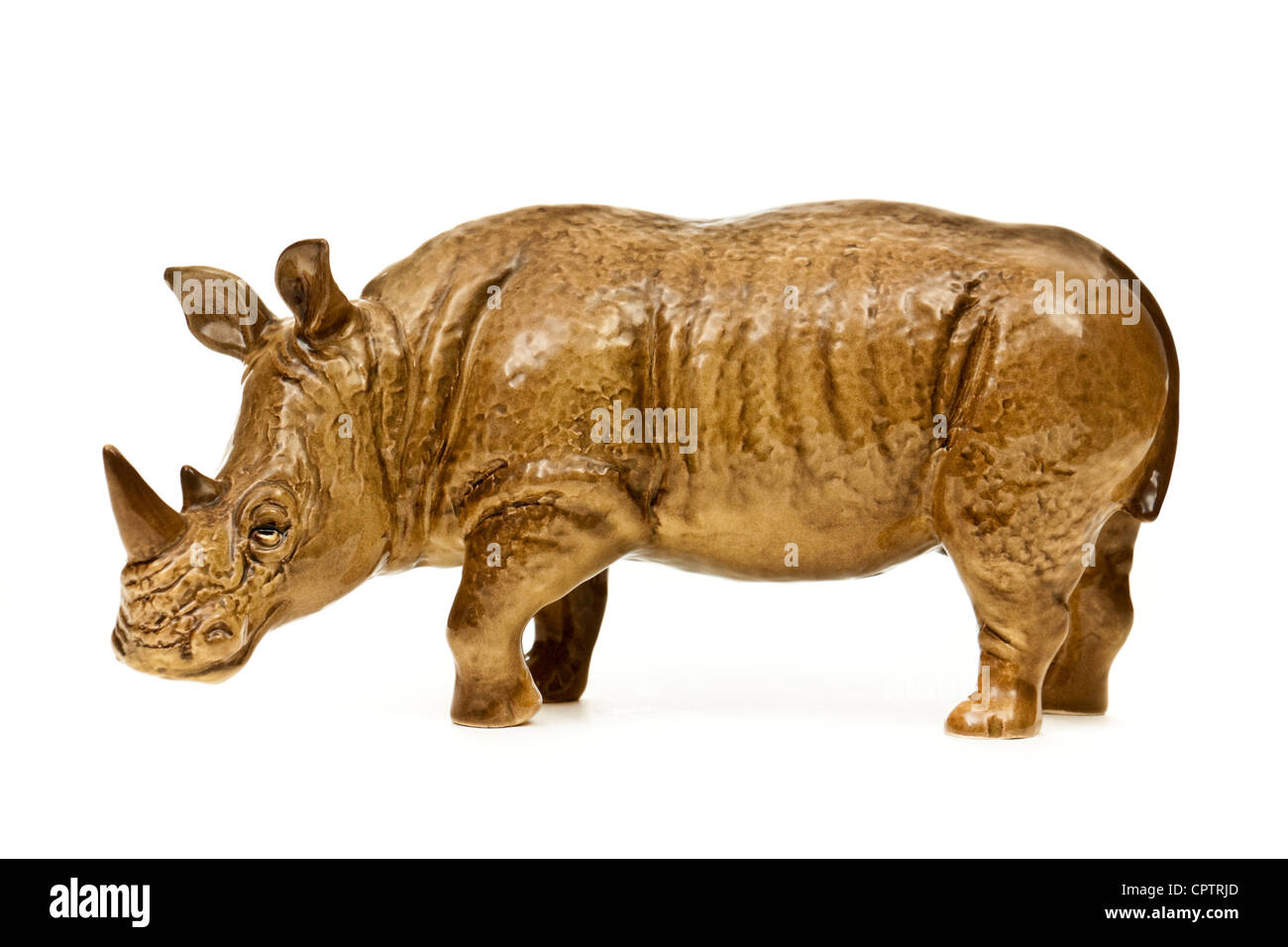Rare vintage Sylvac Pottery (No 5166) large rhinoceros figurine - Stock Image