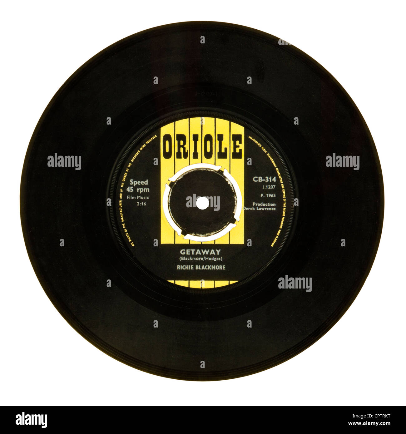 Mega rare 1965 Richie Blackmore (pre-Deep Purple) 7' UK single 'Getaway / Little Brown Jug' (Oriole - Stock Image