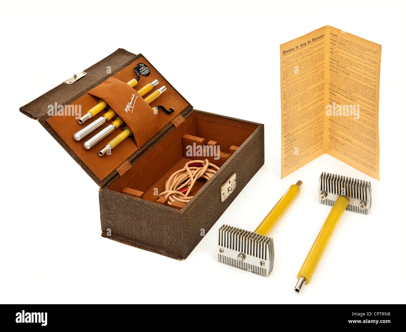 Rare 1925 'Overbeck Rejuvenator', a quack tool for treating ailments with electric current by Dr Otto Overbeck. - Stock Image