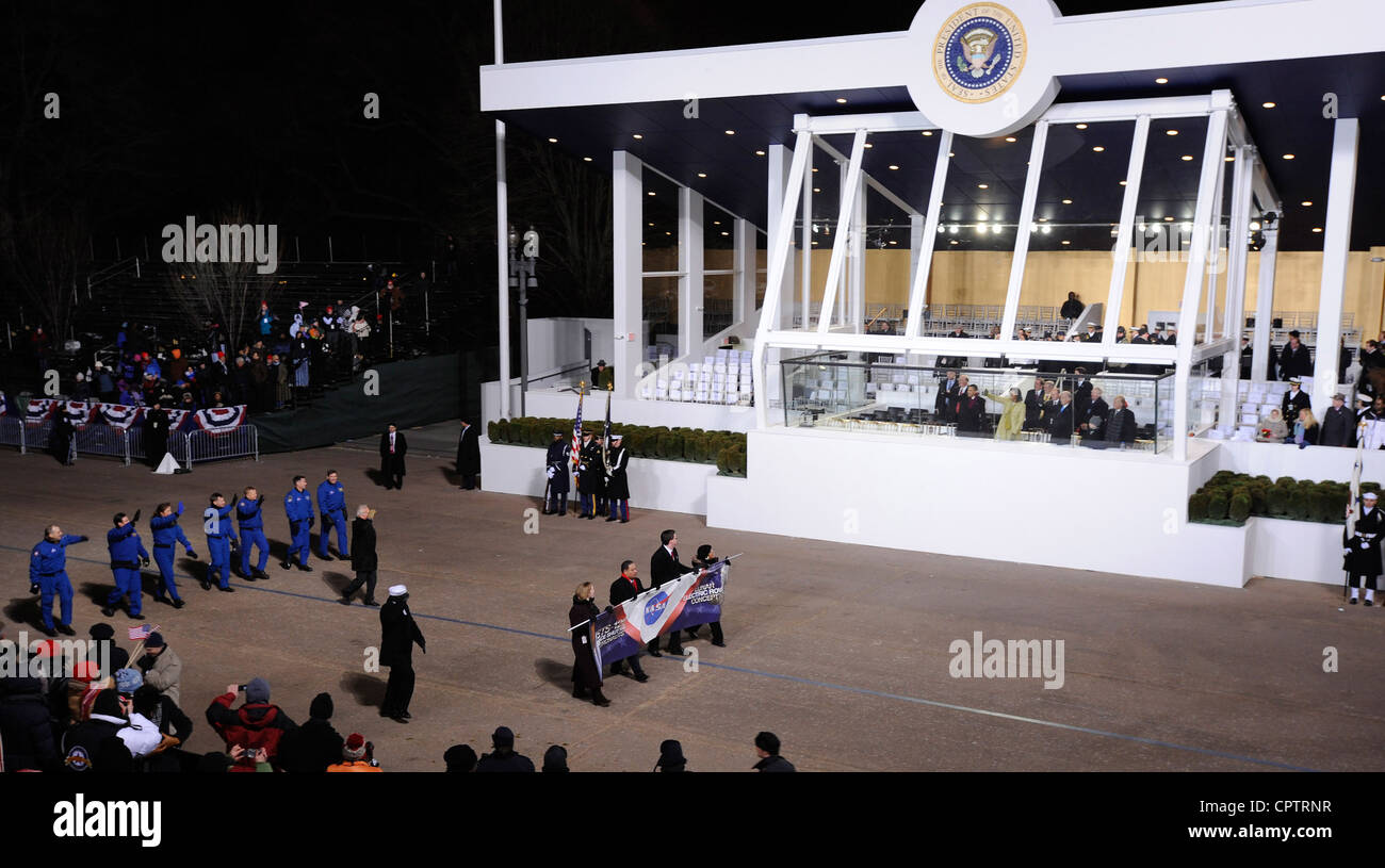 NASA personnel at 2009 Presidential inauguration parade - Stock Image