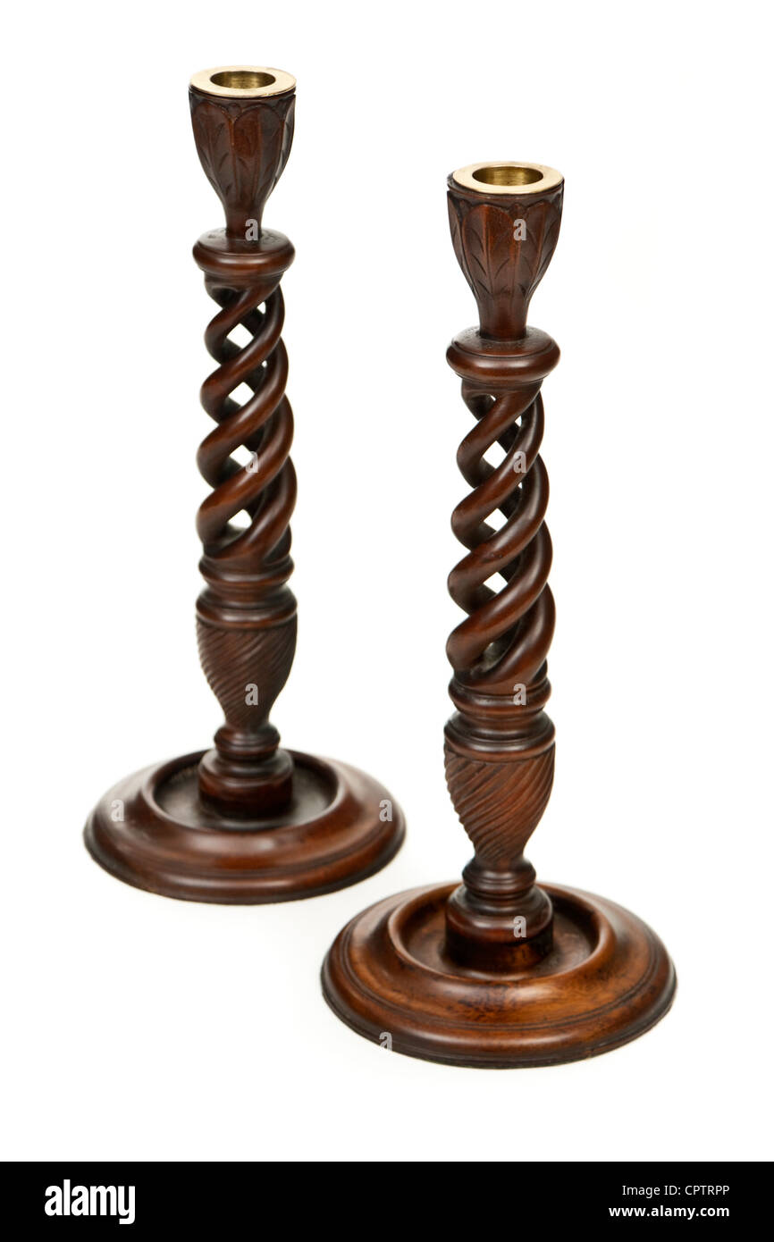 Pair of wooden candle holders - Stock Image