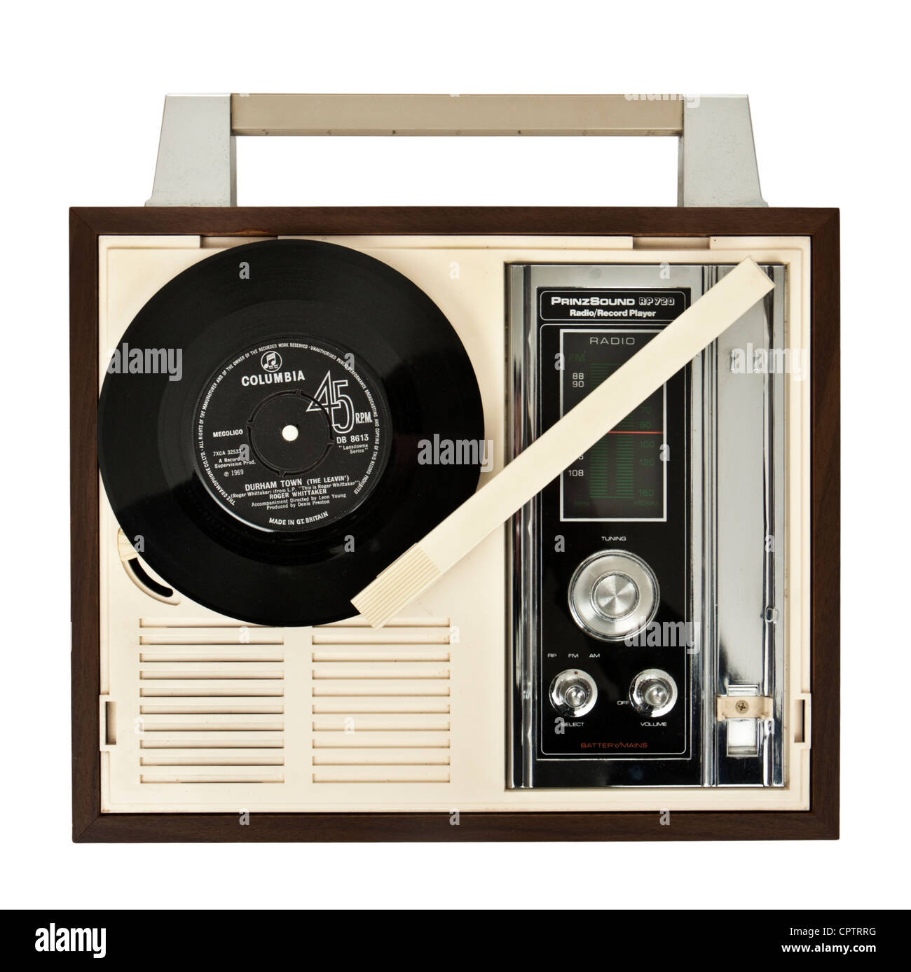 Vintage 1960's PrinzSound (Dixons) RP720 portable record player with integrated radio - Stock Image