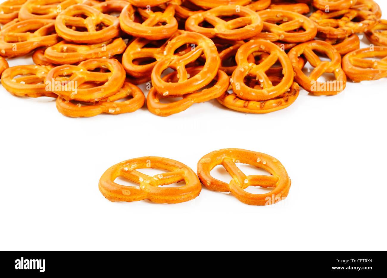 twist pretzel on white background - Stock Image