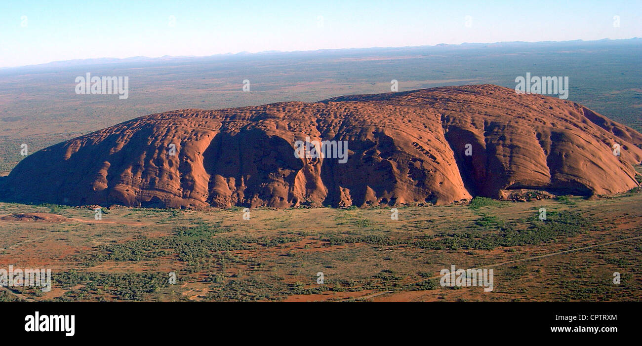 Helicopter view of Uluru/Ayers Rock. - Stock Image