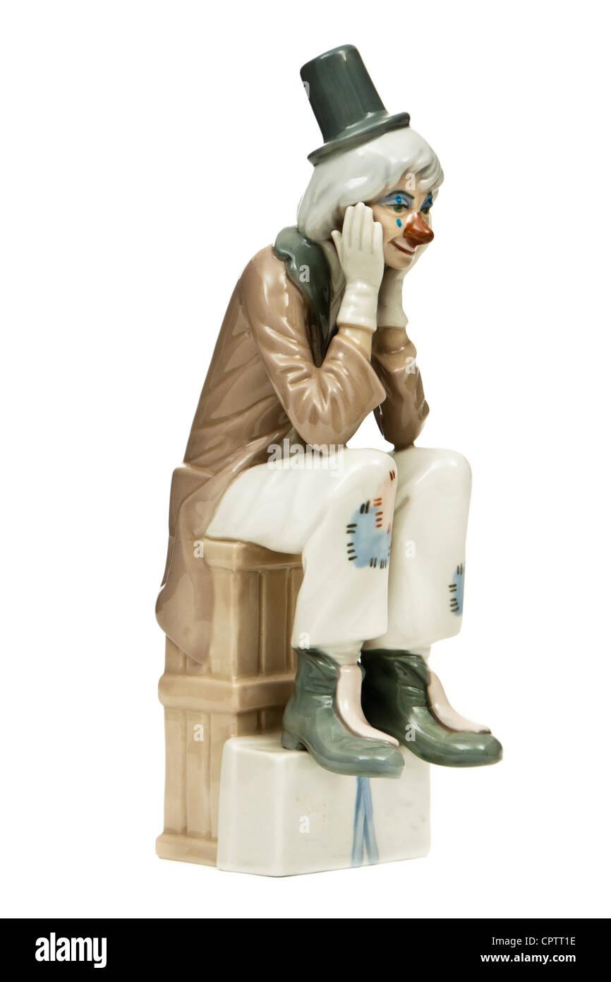 'Sad Clown' porcelain figurine by Casades Porcelanas SA of Spain - Stock Image