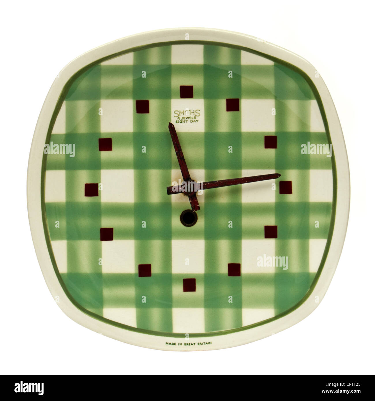 "Vintage 1940's ""Gingham"" pattern ceramic wall clock by T.G. Green & Co. Ltd with Smiths 8-day mechanical wind-up Stock Photo"