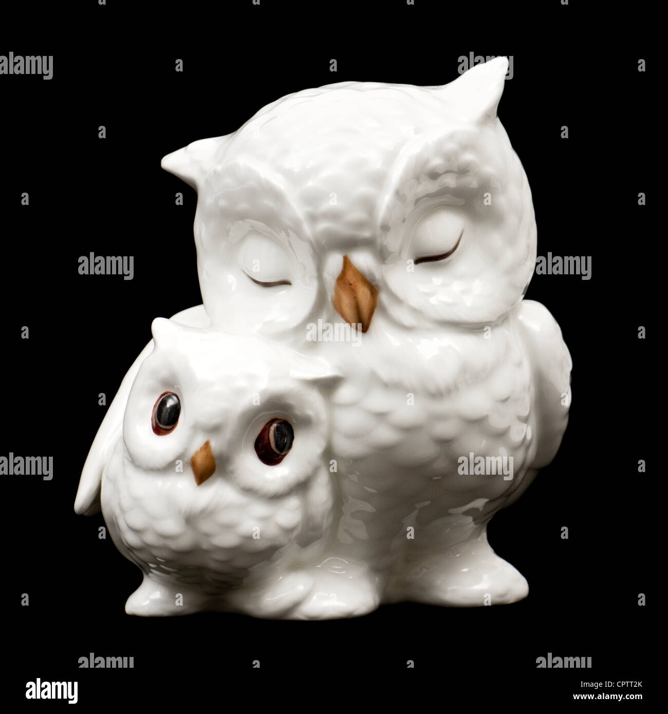 Royal Osborne porcelain mother and baby owls figurine - Stock Image