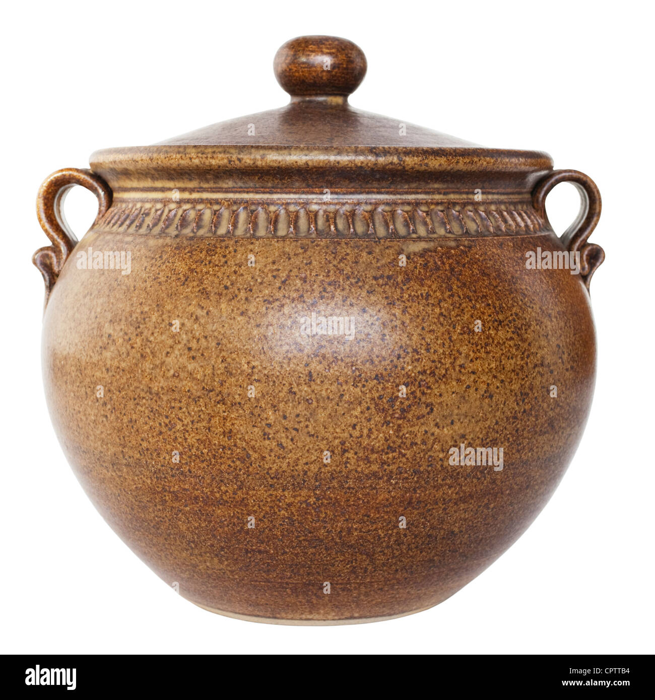 Traditional brown pottery casserole dish isolated on white. - Stock Image