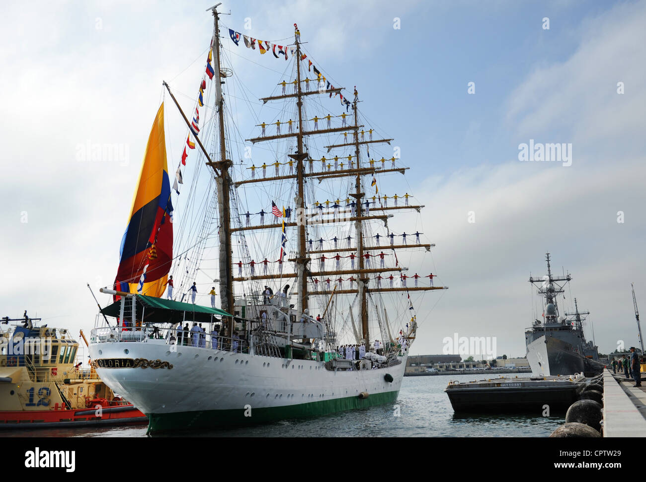 Colombian tall ship ARC Gloria arrives at Naval Station Mayport for a scheduled port visit. ARC Gloria is the Colombian - Stock Image