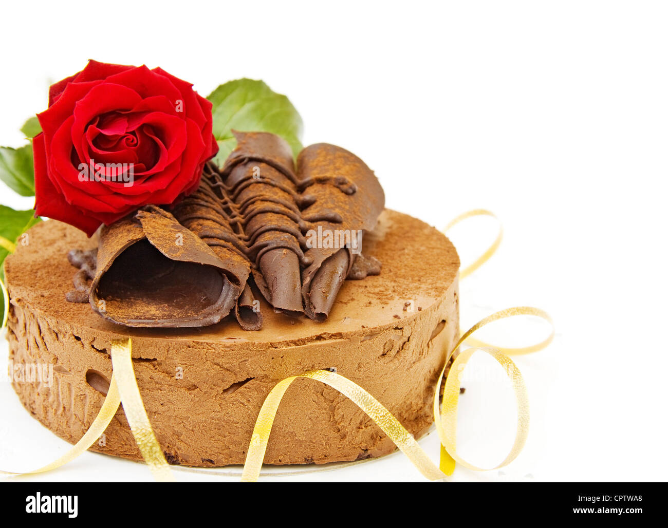 Happy Birthday Delicious Toffee Cake With Red Rose And Golden Stock