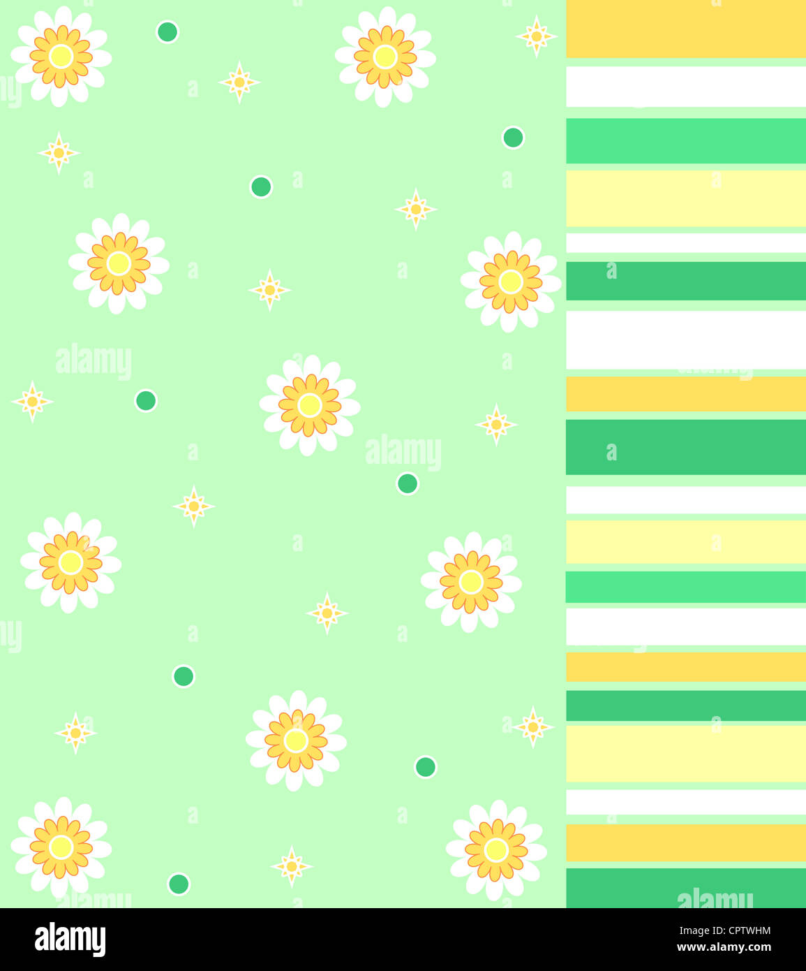 Floral and stripes pattern in white, green and yellow Stock Photo