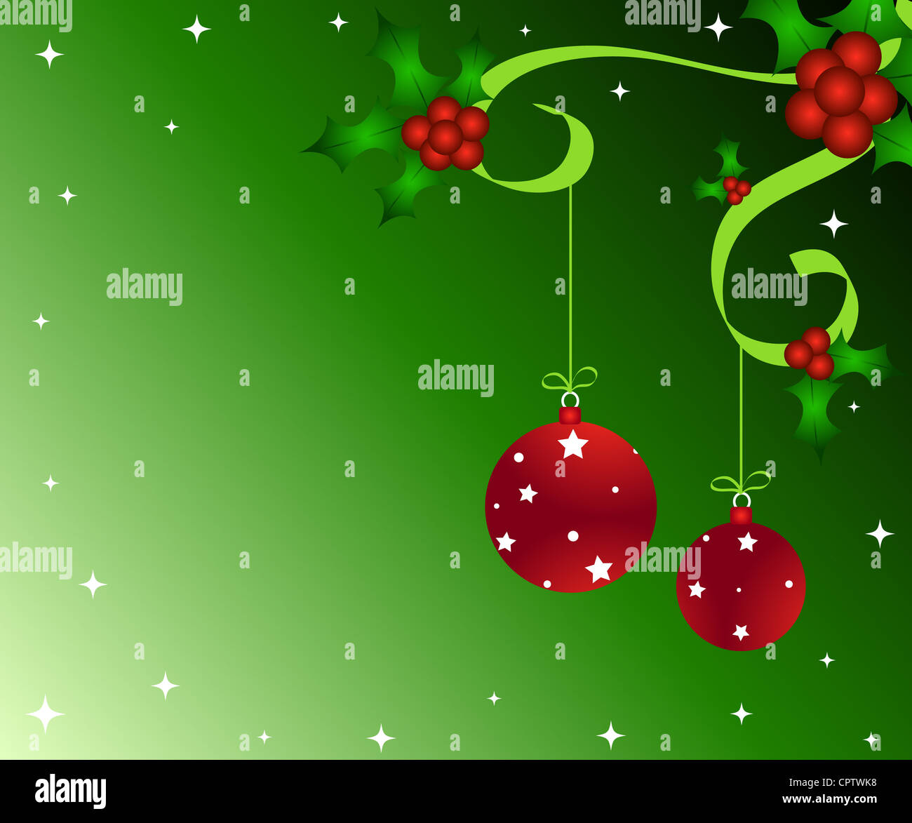 Christmas holly with baubles decoration Stock Photo