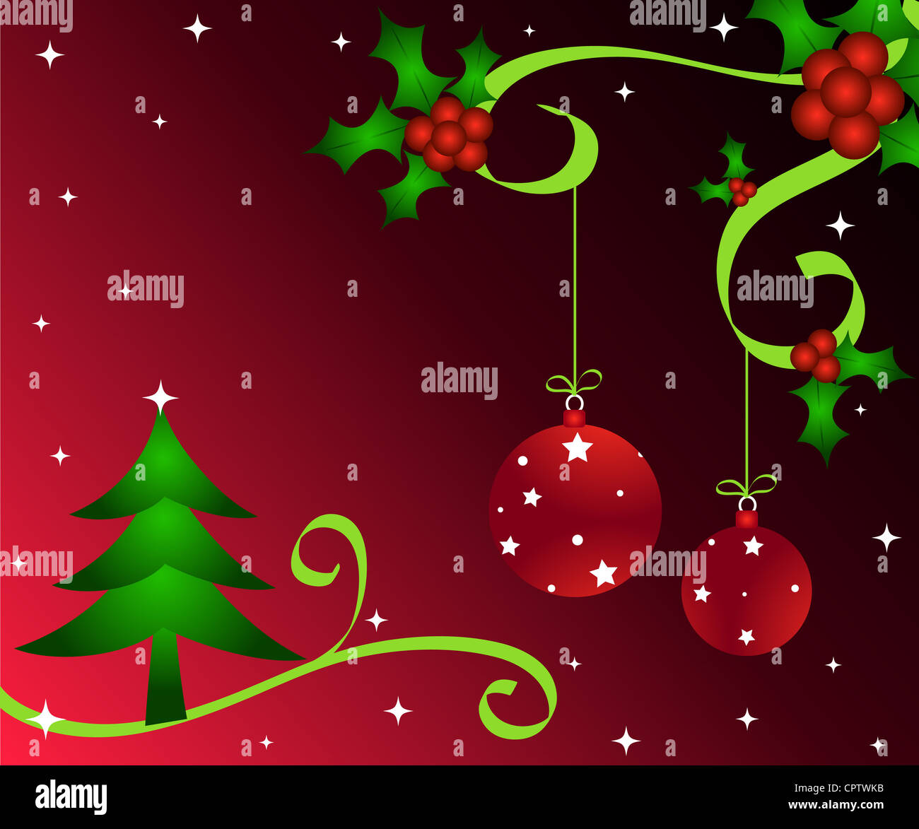 Christmas tree, holly and baubles decoration Stock Photo