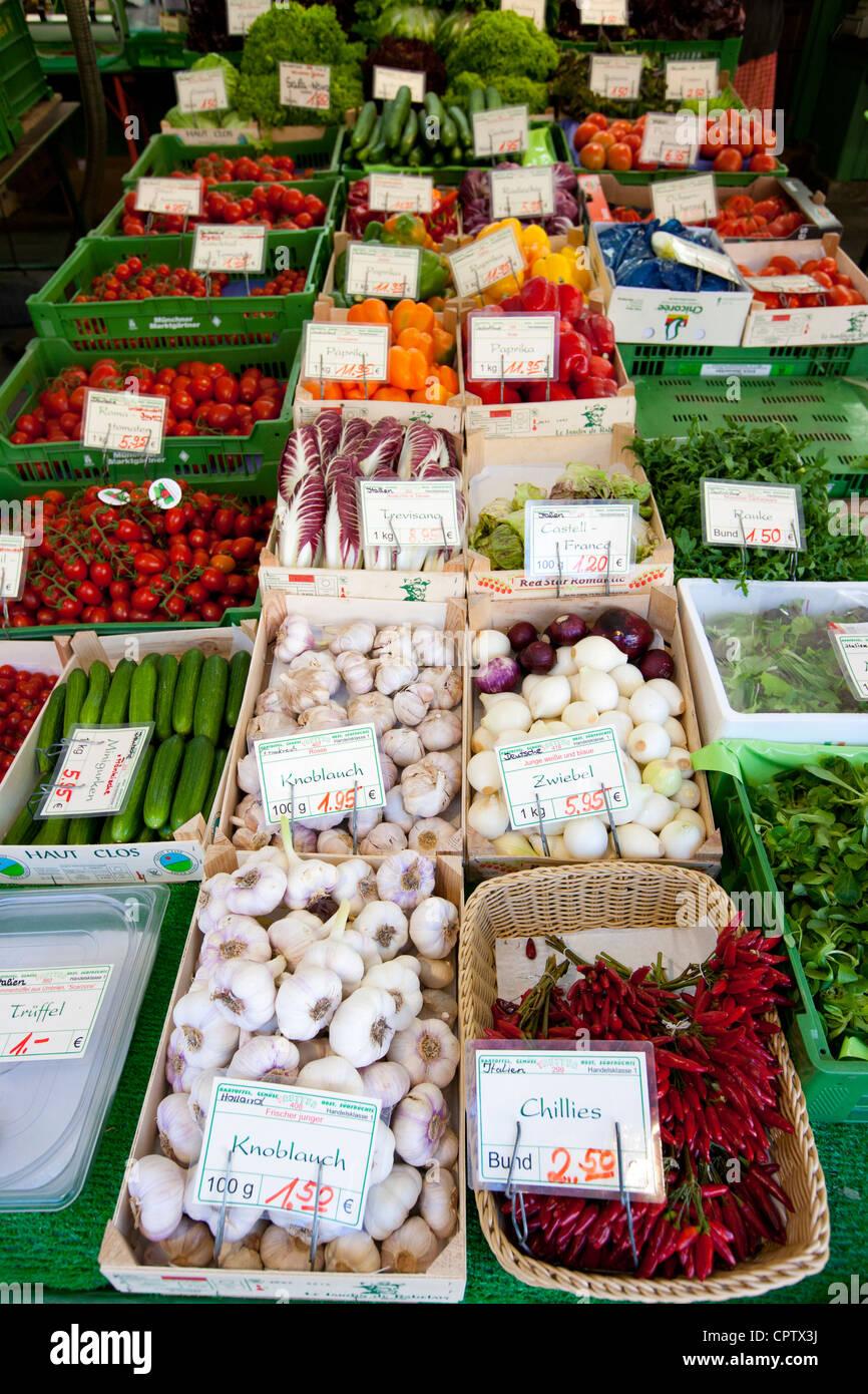 Fresh vegetables on sale at Viktualienmarkt food market in Munich, Bavaria, Germany Stock Photo